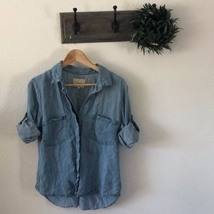 Anthro Elevenses Chambray Button Up M